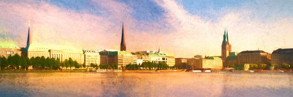 10200605 - Sehnsucht nach Hamburg (digitales Gemälde) | Unser neuestes digitales Gemälde von Hamburg zeigt einen ganz verträumten Blick über die Alster im sommerlichen Pastell Look.