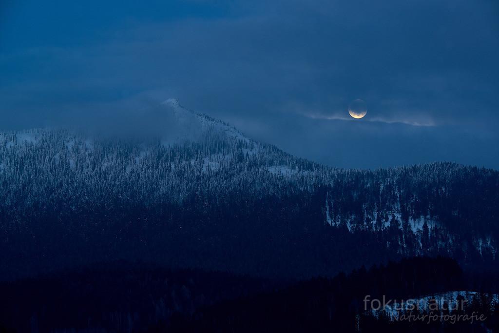 Mondaufgang über dem Osser | Winter im Bayerischen Wald