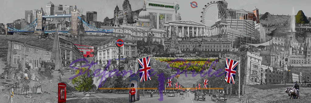 That's London, groß | black-white collage abou London - large version Schwarz-Weiß-Collage zu London in groß