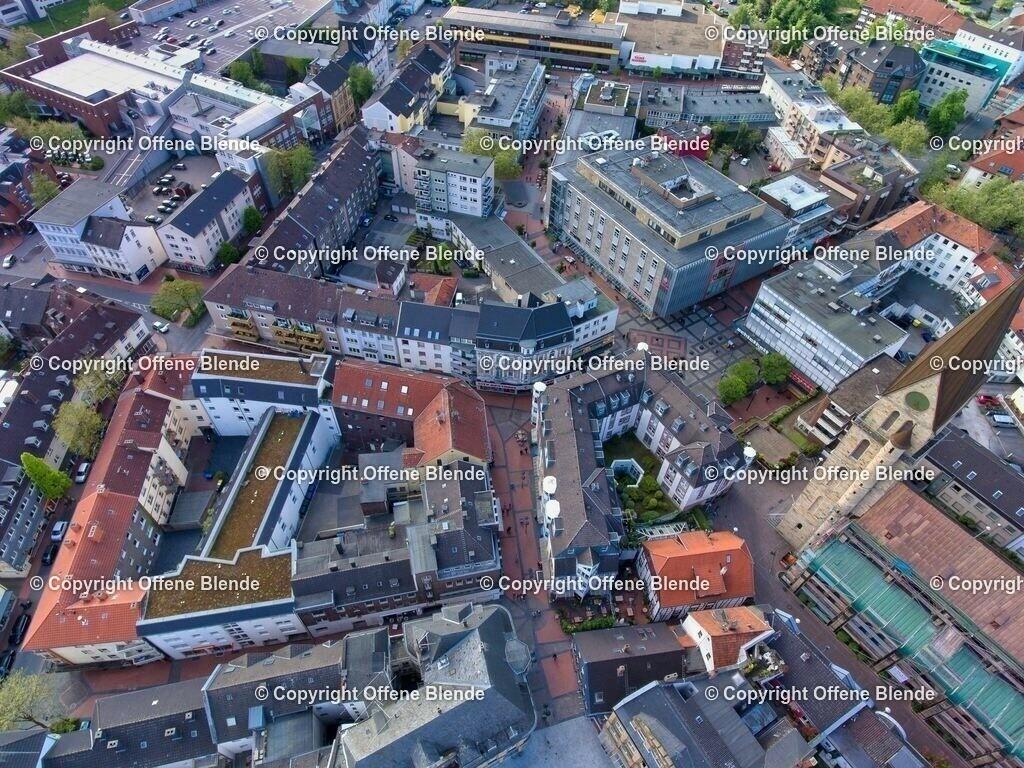 Luftbild Castroper Altstadt | Die Altstadt von Castrop aus der Luft mit dem Hertie-Haus und dem Lambertusplatz