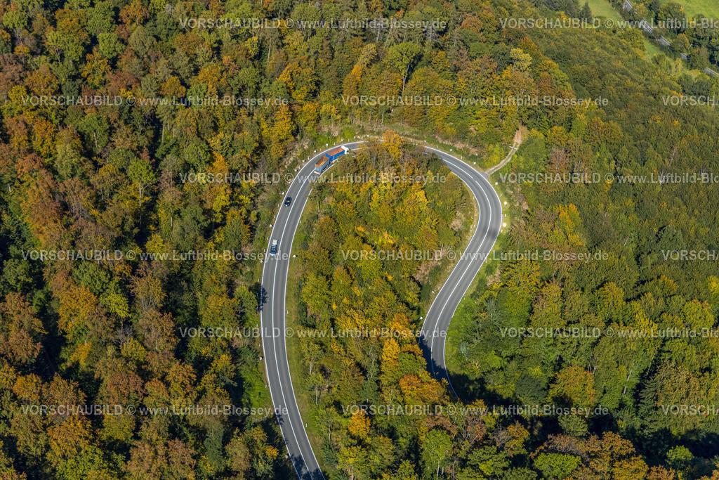 Beverungen200911479Jakobsberg_L838   Luftbild, Serpentinenstraße im Waldgebiet, nördlich von Jakobsberg, Beverungen, Ostwestfalen-Lippe, Nordrhein-Westfalen, Deutschland