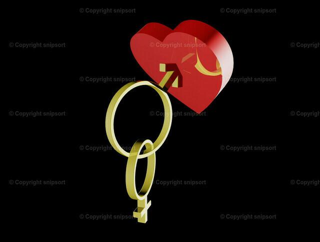 Konzept Verliebtsein (3D-Rendering) | Pfeil bohrt sich in ein Herz mit Symbolen für Eheringe und Weiblichkeit und Männlichkeit (3D-Illustration)