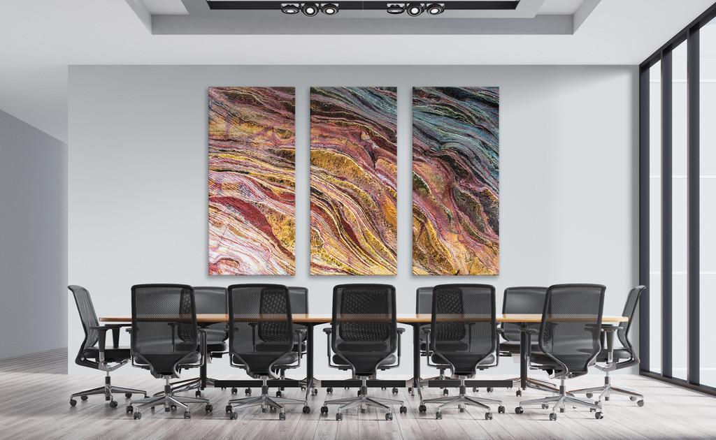 Steinmotiv für einen Konferenzraum | Anwendungsbeispiel für eine dreiteilige Wandgestaltung in einem Konferenzraum. Sie finden das Motiv in der Galerie Farben und Formen - Strukturen und Muster