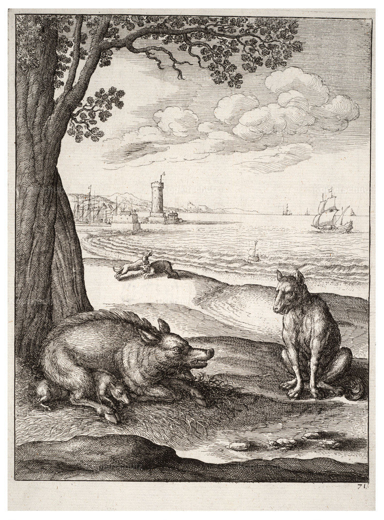Wenceslas_Hollar_-_The_wolf_and_the_sow_(State_1)
