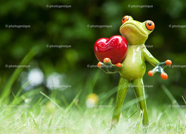 Postkarte Glückwunschkarte Grußkarte Frosch mit Herz | Postkarte Grußkarte Valentinskarte Ein Frosch steht im grünen Gras und hält ein rotes Herz bei Tageslicht vor einem grünen Hintergrund