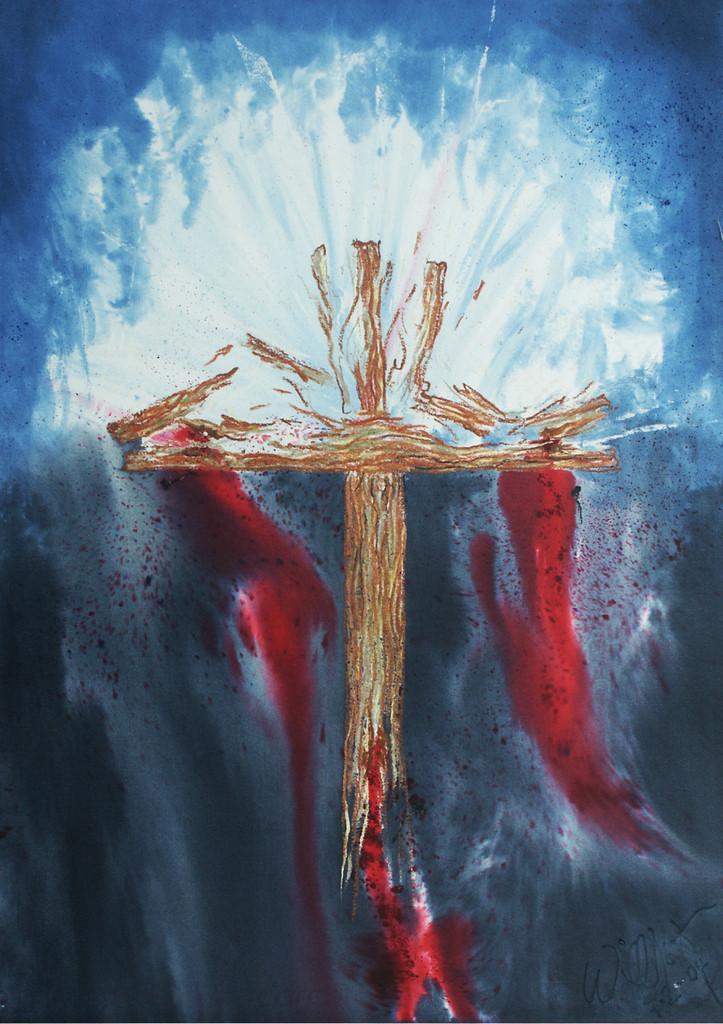 Auferstehung | Eher ungewöhnlich war es, während des Malens ein zerspringendes Kreuz zu sehen. Ich habe es einfach so gemalt und überlasse die Deutung dem Betrachter. Inzwischen ist es fast 130.000 mal im Cover verschiedener Druckauflagen gedruckt worden. Die meisten sahen Ostern darin, daher