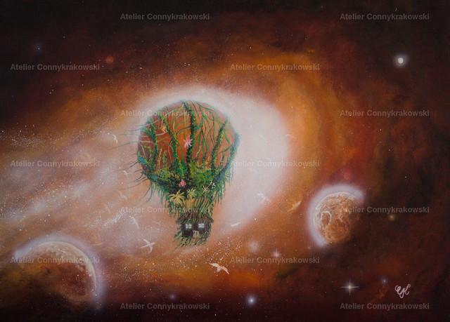 Ballonflug C | Phantastischer Realismus aus dem Atelier Conny Krakowski. Verkäuflich als Poster, Leinwanddruck und vieles mehr.