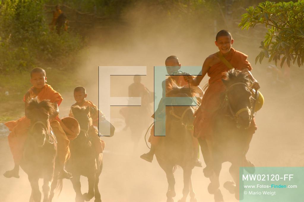 MW02120-FF | Thailand | Goldenes Dreieck | Reportage: Buddhas Ranch im Dschungel | Die jungen Mönche kommen vom Almosen sammeln zurück ins Kloster. Zuerst reitet Novize Aa-Kuab auf seinem Pferd Janjao.  ** Feindaten bitte anfragen bei Mario Weigt Photography, info@asia-stories.com **