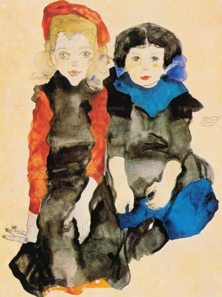 Schiele_ Egon (1890-1918) - Two Little Girls 1911