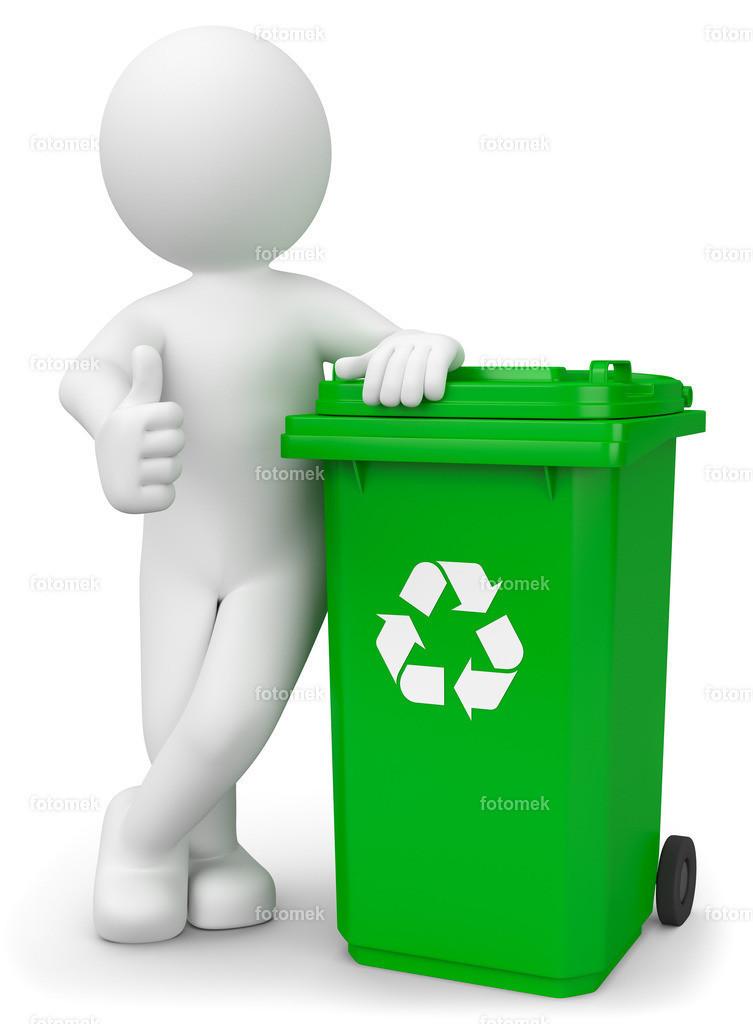 3d Männchen mit Mülltonne Recycling