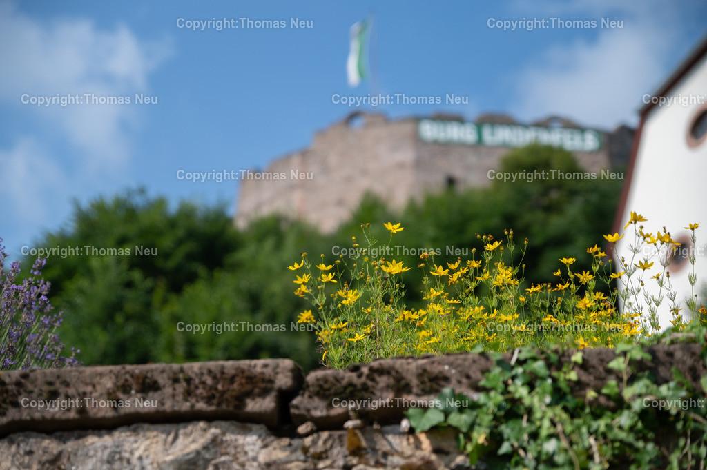 DSC_9910   bli,Lindenfels in Sommerlaune, Blick vom blühenden Kurgarten auf die Burg und die katholische Kirche, ,, Bild: Thomas Neu