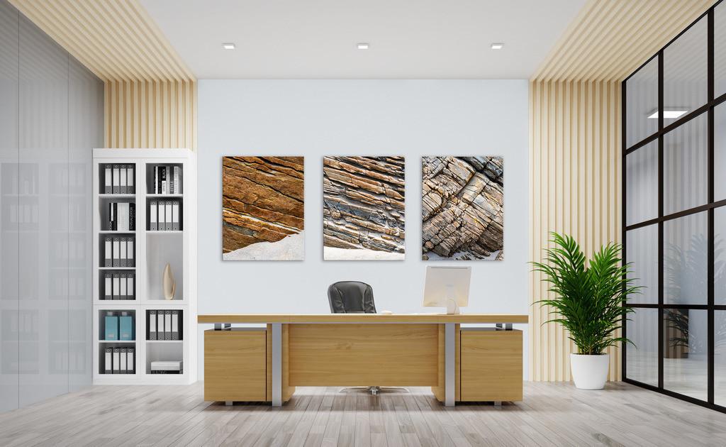 Bildserie Stein für Ihr Büro | Anwendungsbeispiel für Wandbilder in Ihrem Büro. Dieses Triptychon finden Sie in der Kategorie Nimm drei - Steingeschichten.