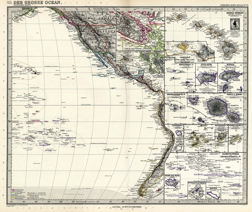 Stielers_Handatlas_1891_76-Polynesia and the Pacific Ocean (eastern sheet)
