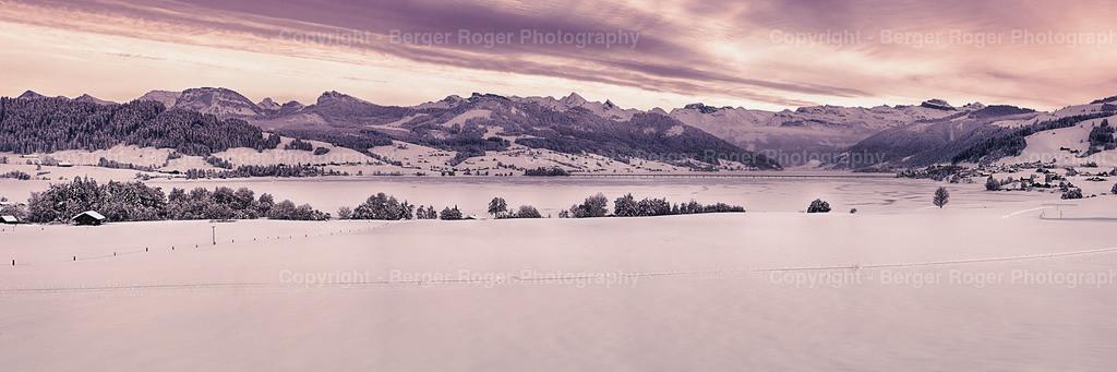 Sihlsee Sonnenuntergang im Winter   Sihlsee im Winter, im Januar 2021 aufgenommen