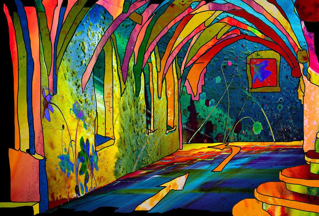 Kreuzgang1   Projektionsmotive der Kunstevents
