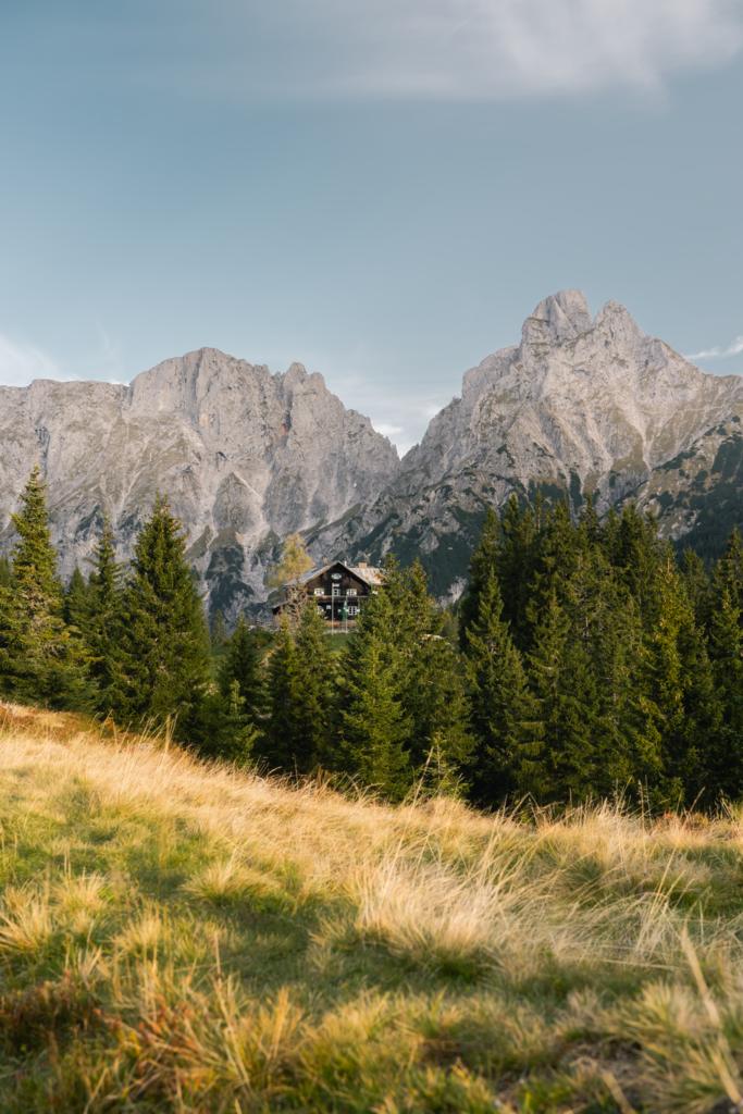 Gesäuse   Der Weg zur Mödlinger Hütte im Gesäuse mit Blick auf den Admonter Reichenstein und den Sparafeld.
