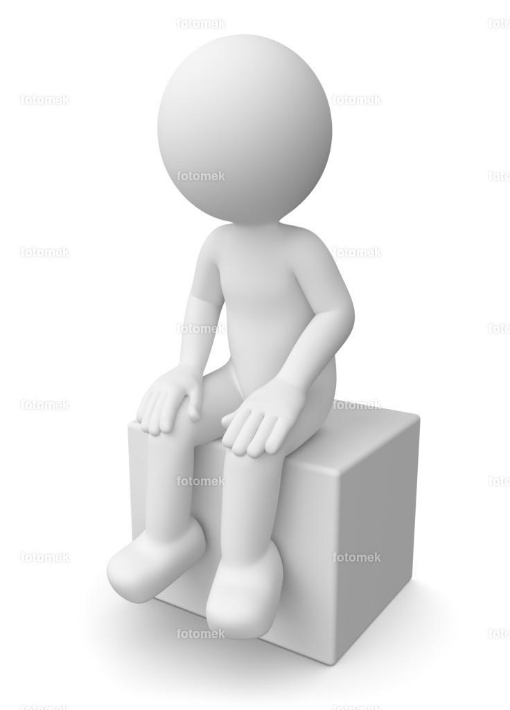 3d männchen sitzend | weisse 3D Männchen von Fotomek