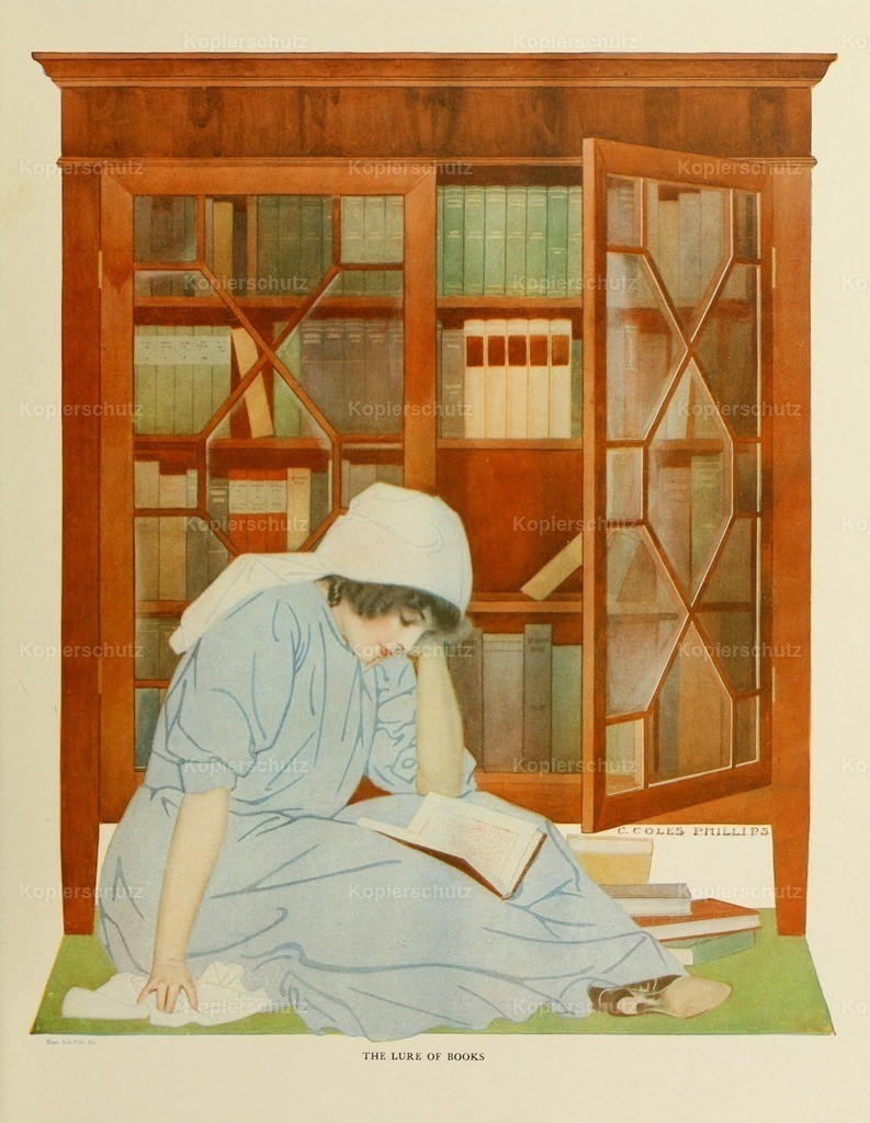 Phillips_ Clarence Coles (1880-1927) - A Gallery of Girls 1911 - The lure of books