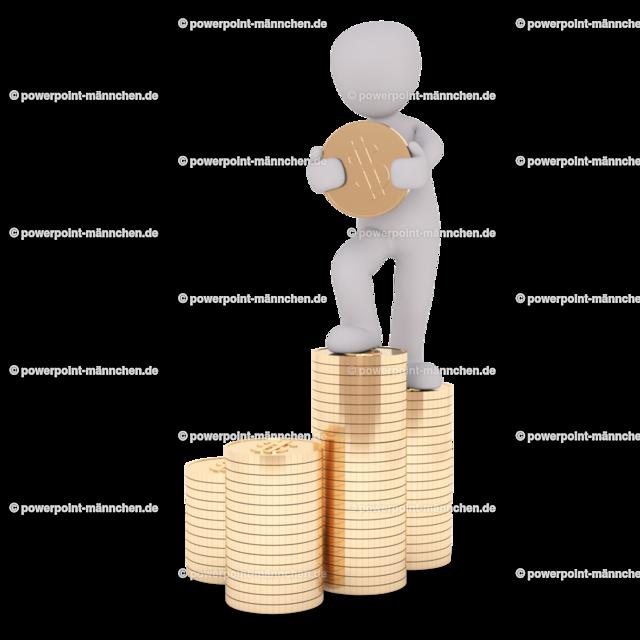 man standing above the coins | Quelle: https://3dman.eu   Jetzt 250 Bilder kostenlos sichern