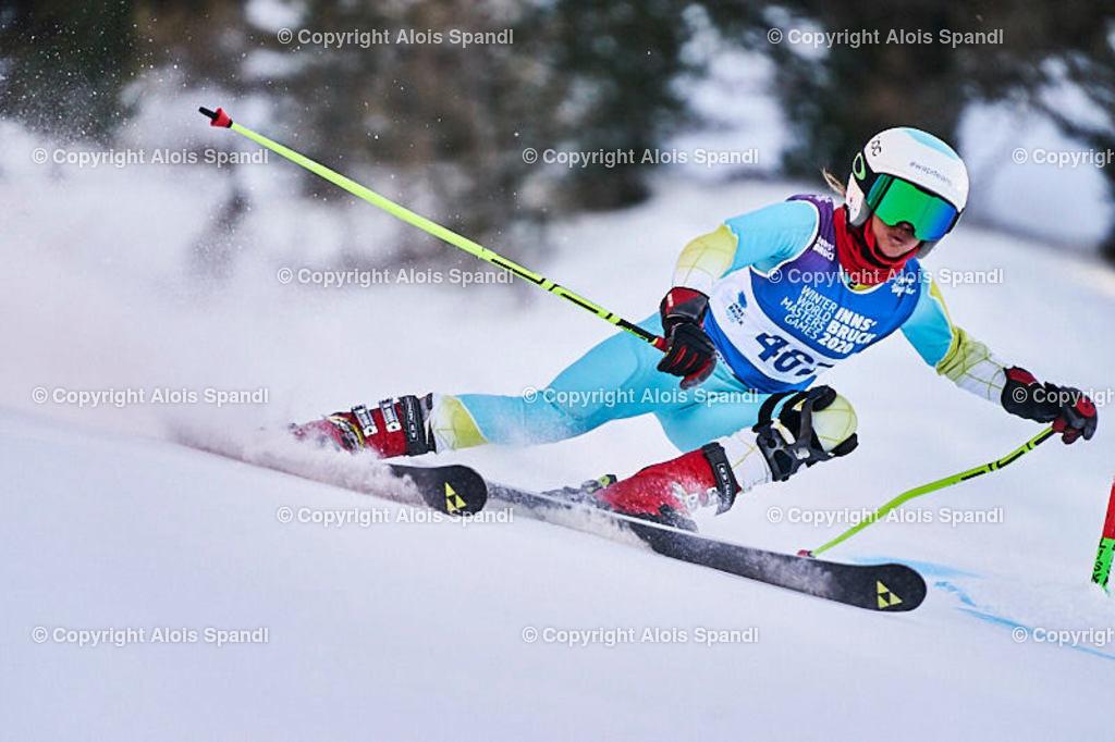 ALS6014_WWMG_GS-II_C | (C) FotoLois.com, Alois Spandl, WinterWorldMastersGames 2020 Innsbruck, Giant Slalom-II Gruppe C Damen, Patscherkofel Olympiaabfahrt, Mi 15. Jänner 2020.