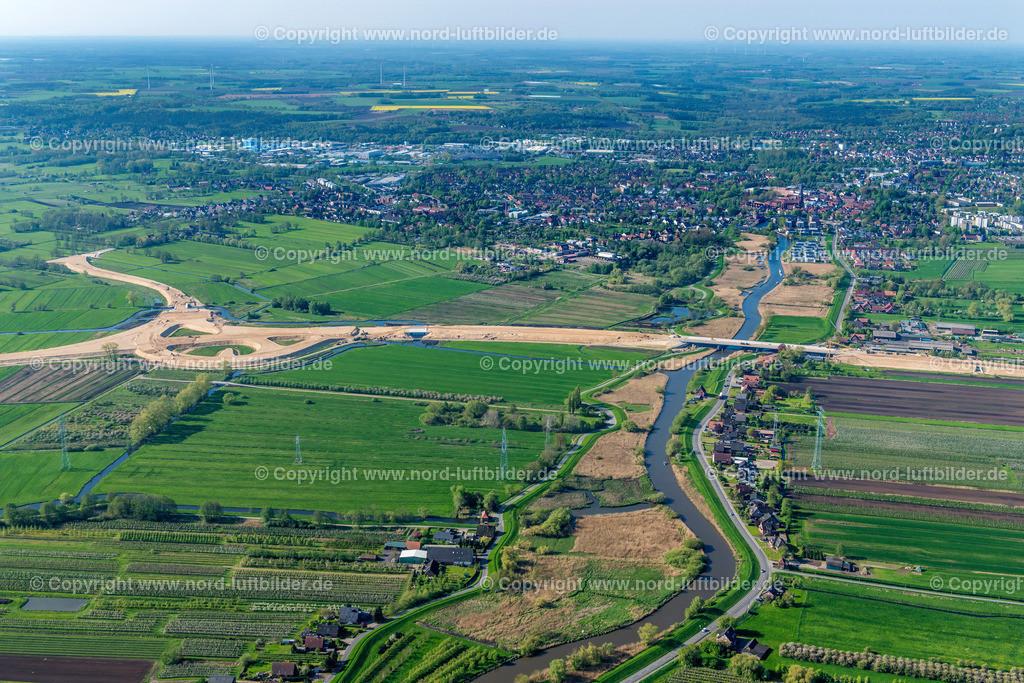 Buxtehude Autobahnbau Este_ELS_0451020518 | Buxtehude - Aufnahmedatum: 02.05.2018, Aufnahmehöhe: 436 m, Koordinaten: N53°30.084' - E9°43.117', Bildgröße: 8050 x  5367 Pixel - Copyright 2018 by Martin Elsen, Kontakt: Tel.: +49 157 74581206, E-Mail: info@schoenes-foto.de  Schlagwörter:Niedersachsen,Luftbild, Luftbilder, Deutschland