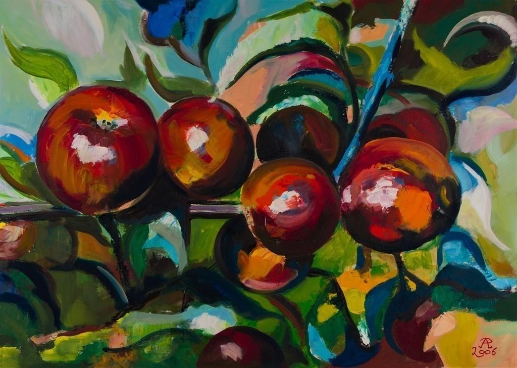 Farbspiel mit roten Äpfeln | Originalformat: 50x70cm  -  Produktionsjahr: 2006
