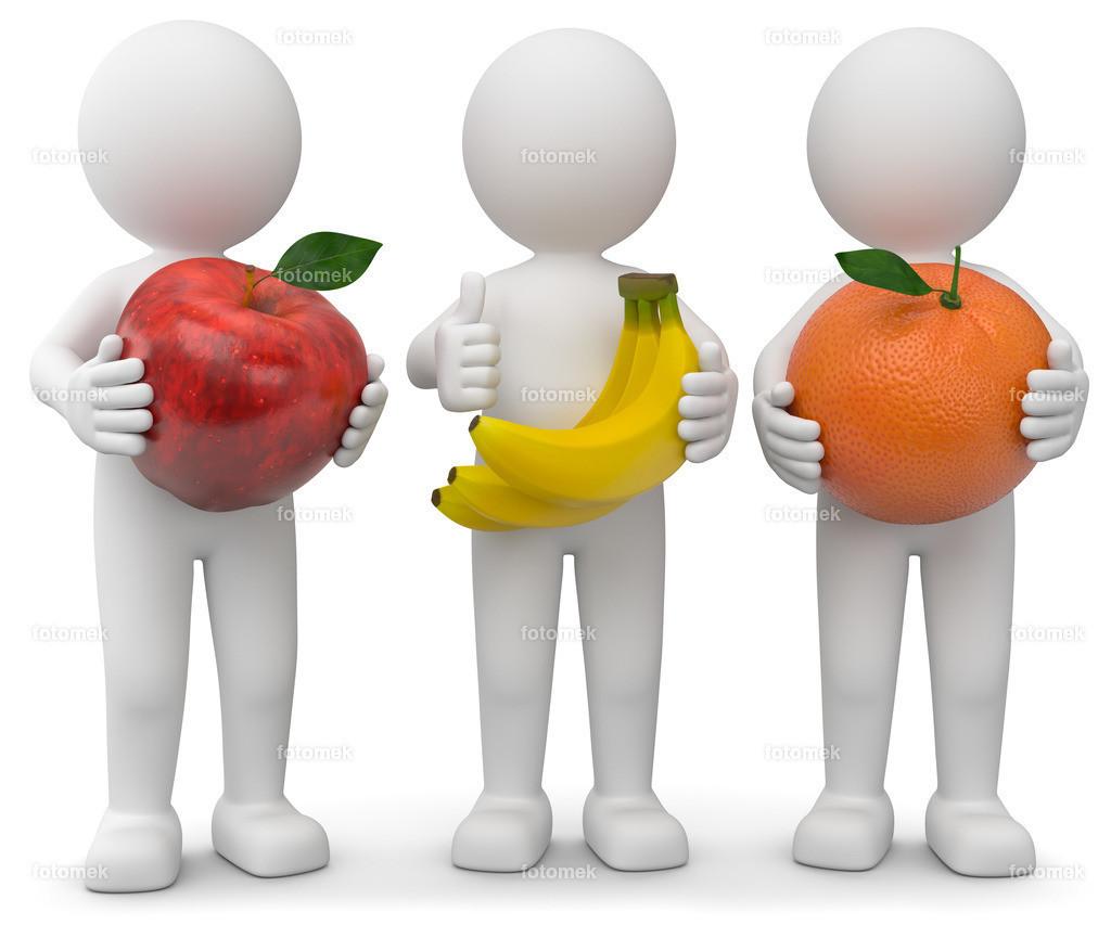 3d Männchen Apfel Bannae Orange | 3d Männchen mit einem Apfel, Bananen und einer Orange für gesunde Ernährung. Obst enthält viele Vitamine.