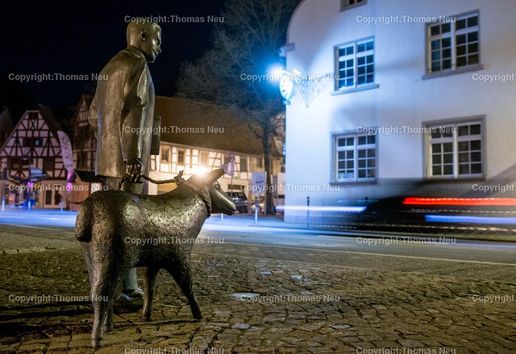 Nacht_Zwingenberg-10 | Zwingenberg, Bergstrasse bei Nacht, Max Teichmnann und sein Schaf,, Bild: Thomas Neu