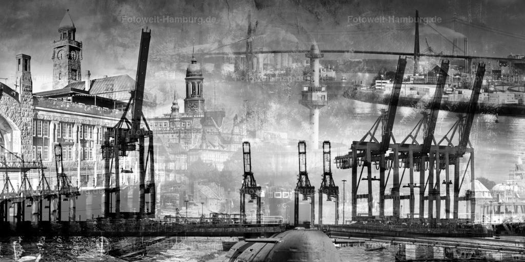 10190311 - Hamburger Hafen Collage | Modernes Wandbild mit Motiven vom Hamburger Hafen