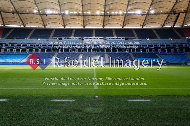 Fußball, Herren, Testspiel, Hamburger SV - FC Hansa Rostock, Volksparkstadion, 09.08.2020 | Osttribüne des Volksparkstadions in Hamburg (Innenraum)