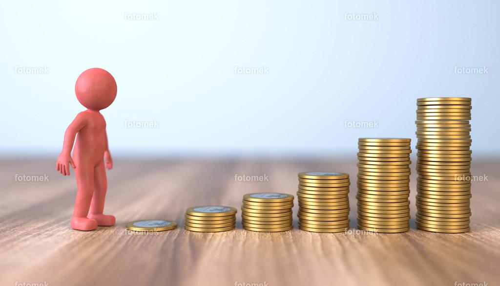 Männchen aus Knetmasse mit Geldmünzen - Wachstum | 3d Männchen aus Knetmasse zählt gestapelte Geldmünzen mit Wachstum nach oben.
