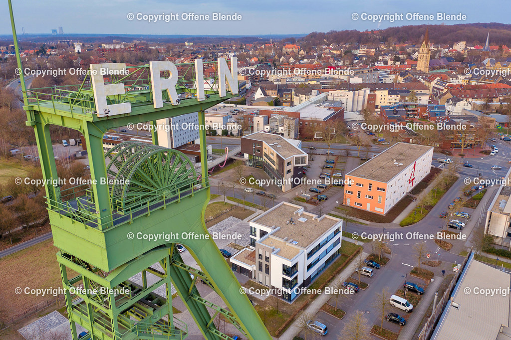 Luftbild Erinturm in Castrop-Rauxel | Der Erin-Förderturm in Castrop aus der Luft