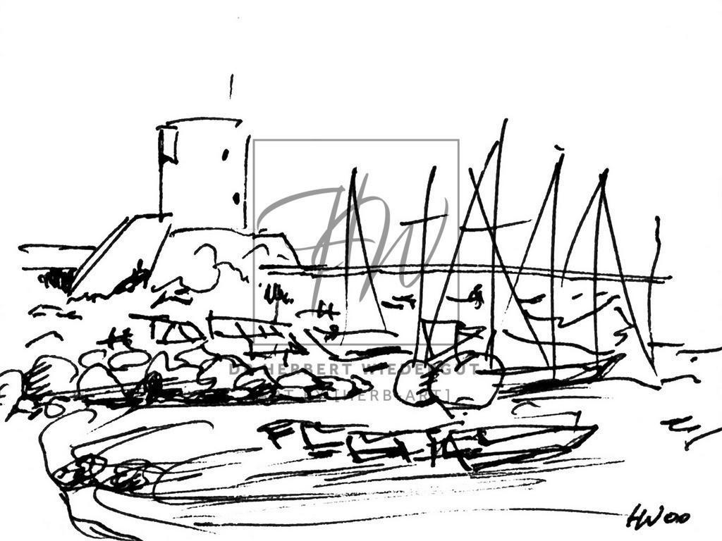 Der Hafen von Marciana Marina auf Elba | Reiseskizze mit Tusche auf Zeichenblock von Dr. Herbert Wiedergut