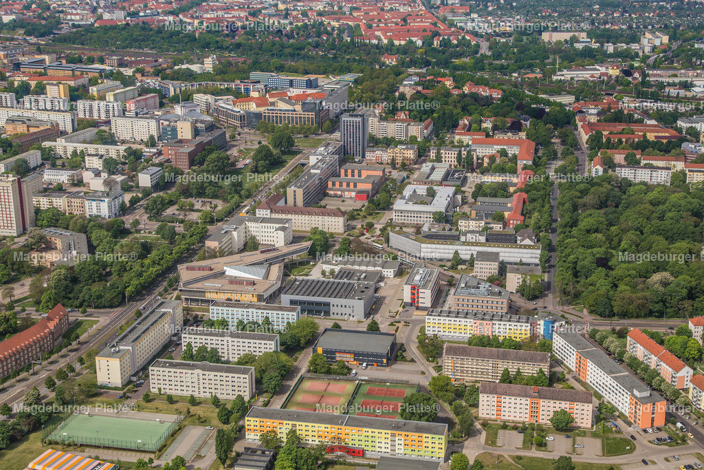 Luftbild Magdeburg Unigelände Pfälzer Platz-2310