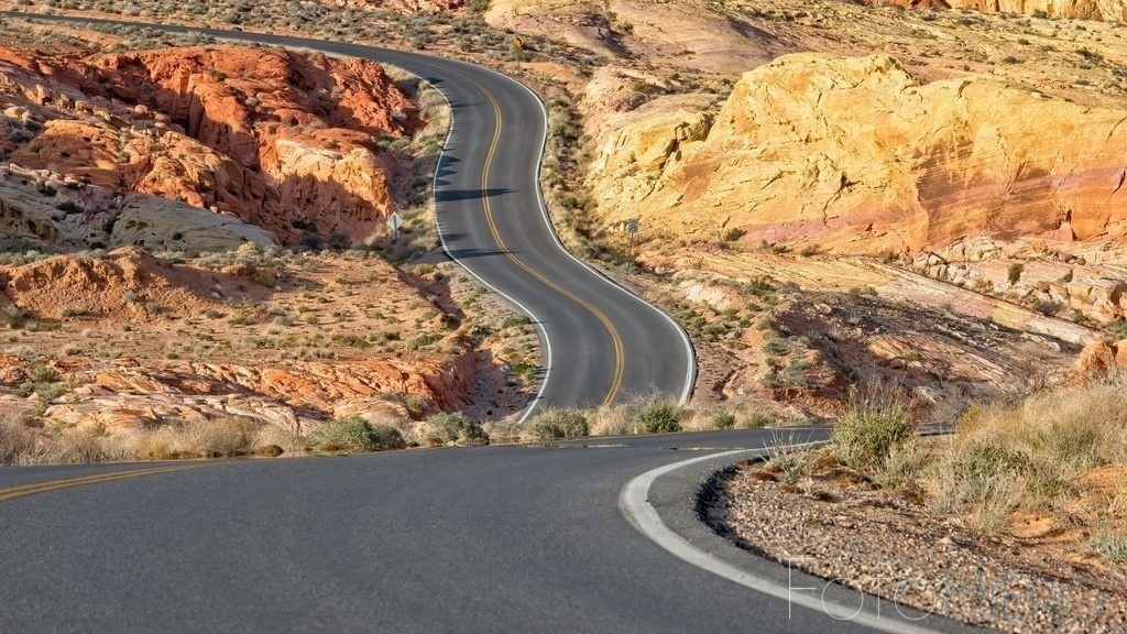 Valley of Fire, Rode 2 | Strasse im Valley of Fire State Park, Nevada USA
