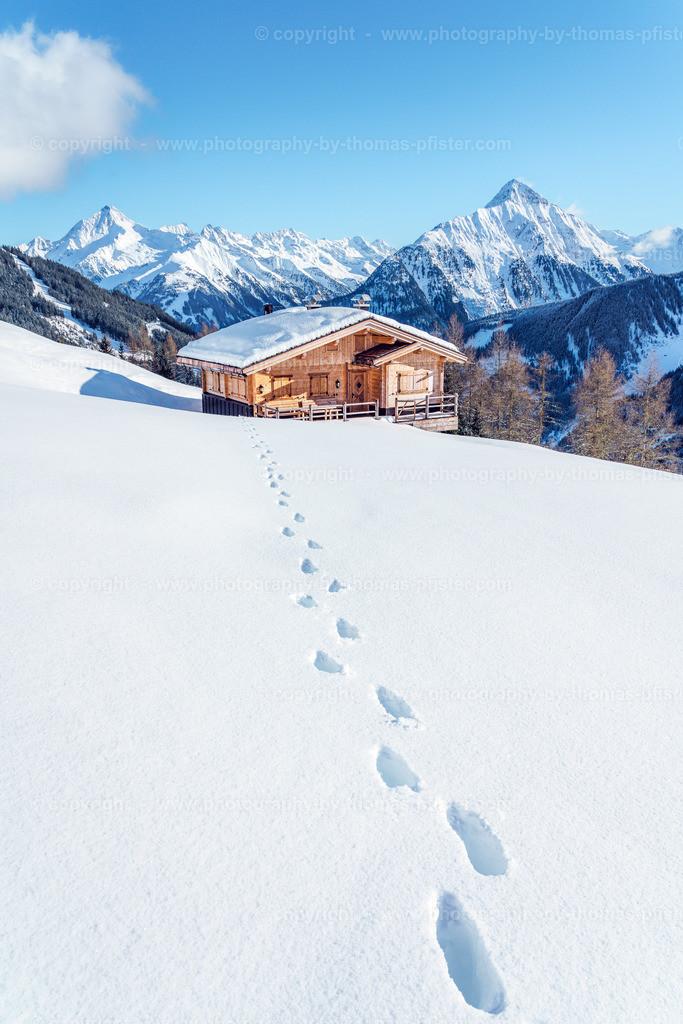 Schrofenalm im Winter Blick talauswärts-2
