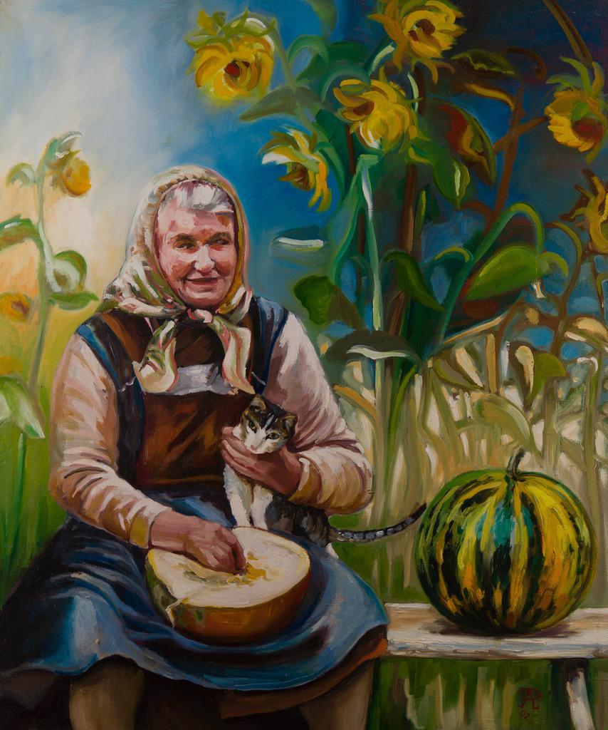 Großmutter mit Kürbissen | Originalformat: 90x75cm  -  Produktionsjahr: 2002