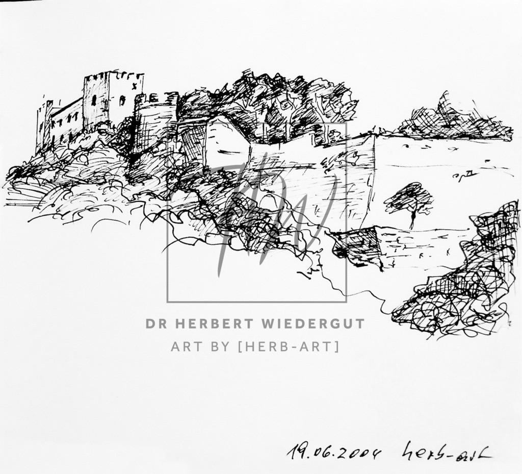 Das Kastell in Castiglione della Pescaia In Italien | Reiseskizze mit Tusche auf Zeichenblock von Dr. Herbert Wiedergut