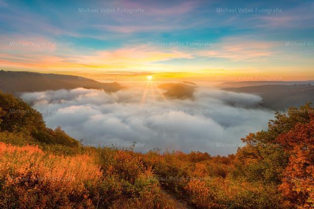 Saarschleife im Nebel | Sonnenaufgang bei der Saarschleife in Mettlach / Saarland, die von einem dichten Nebelfeld bedeckt ist.