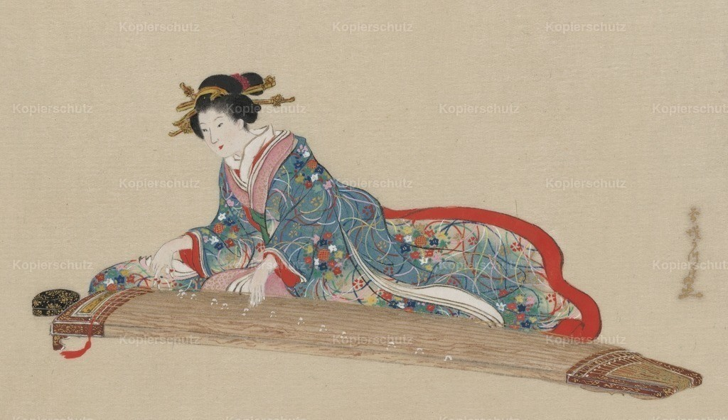 Hasegawa_ Settei (1819-1882) - Lady playing the koto 1878