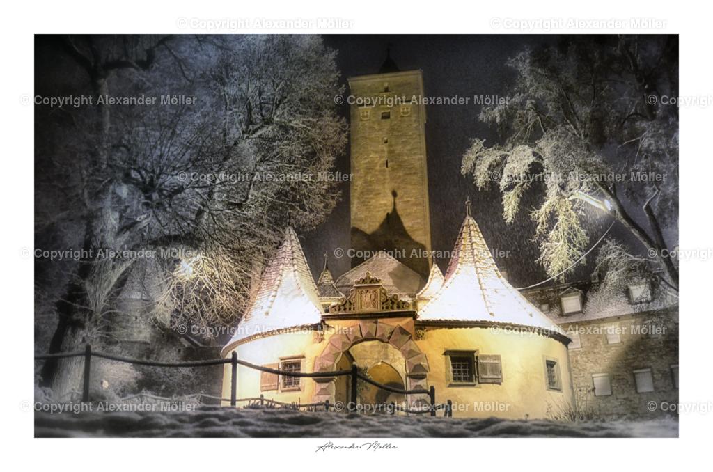 Rothenburg ob der Tauber No.117   Dieses Werk zeigt das Burgtor und den Burggarten in einer wunderschönen Winterlandschaft
