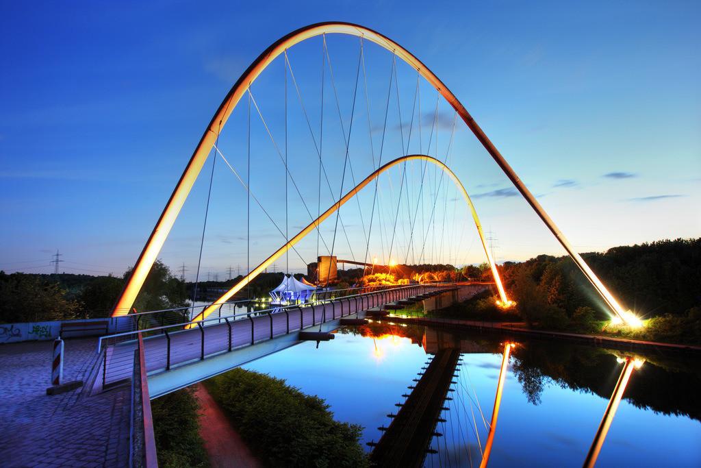 JT-090518-004 | Doppelbogenbrücke über den Rhein-Herne-Kanal, am Nordsternpark, ehemalige Zeche Nordstern, Gelsenkirchen,