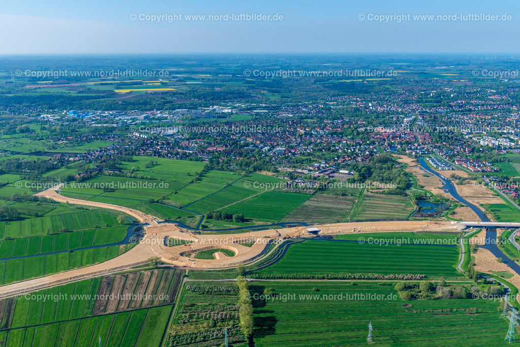 Buxtehude Autobahnbau _ELS_0457020518   Buxtehude - Aufnahmedatum: 02.05.2018, Aufnahmehöhe: 444 m, Koordinaten: N53°29.813' - E9°43.553', Bildgröße: 7581 x  5054 Pixel - Copyright 2018 by Martin Elsen, Kontakt: Tel.: +49 157 74581206, E-Mail: info@schoenes-foto.de  Schlagwörter:Niedersachsen,Luftbild, Luftbilder, Deutschland