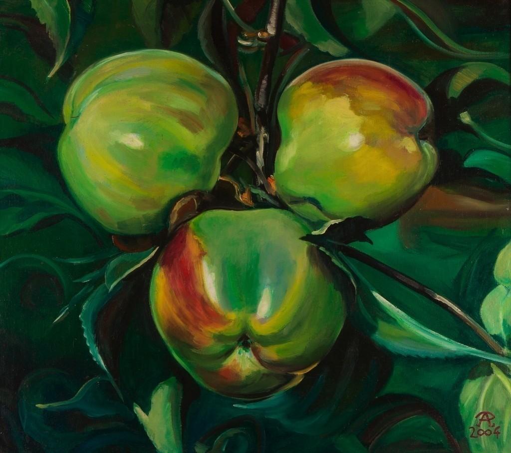 Drei grüne Äpfel | Originalformat: 45x50cm  -  Produktionsjahr: 2003