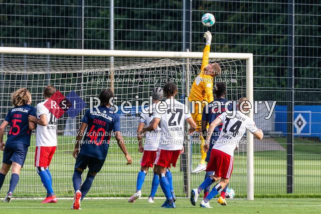 Fußball, Herren, Testspiel, Hamburger SV - FC Midtjylland, HSV-Trainingsplatz am Volksparkstadion, 20.08.2020   Julian Pollersbeck (#33, HSV, Torwart) greift nach dem Ball