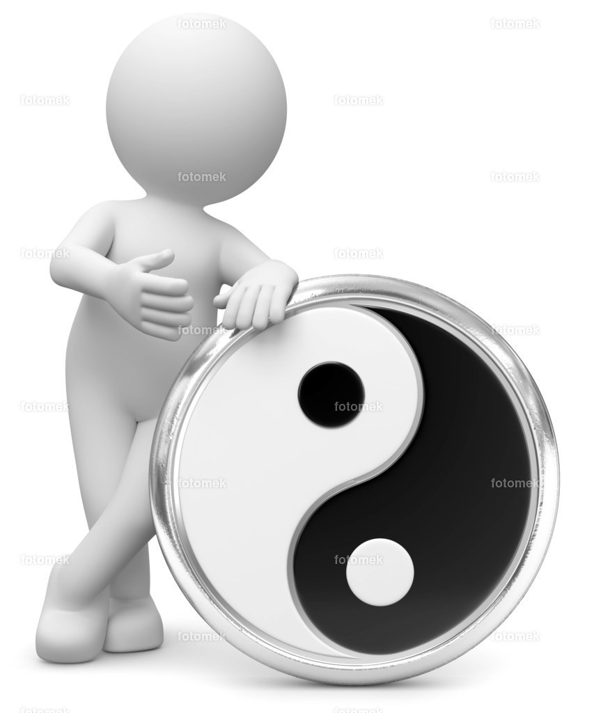 3d Männchen mit Yin Yang | weisses 3D Männchen von Fotomek