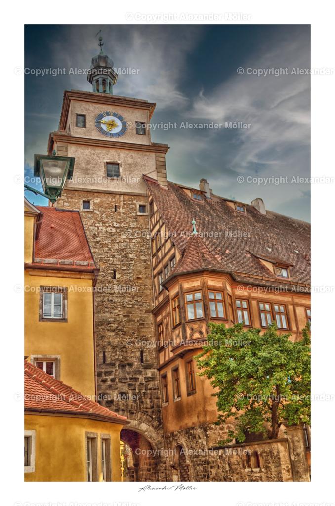 Rothenburg ob der Tauber No.17   Dieses Werk zeigt den Weißen Turm in Rothenburg ob der Tauber, auch