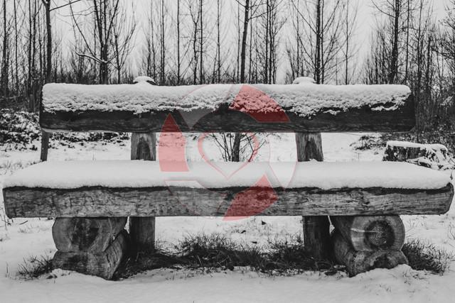 Bank | Holzbank im Winter mit Schnee