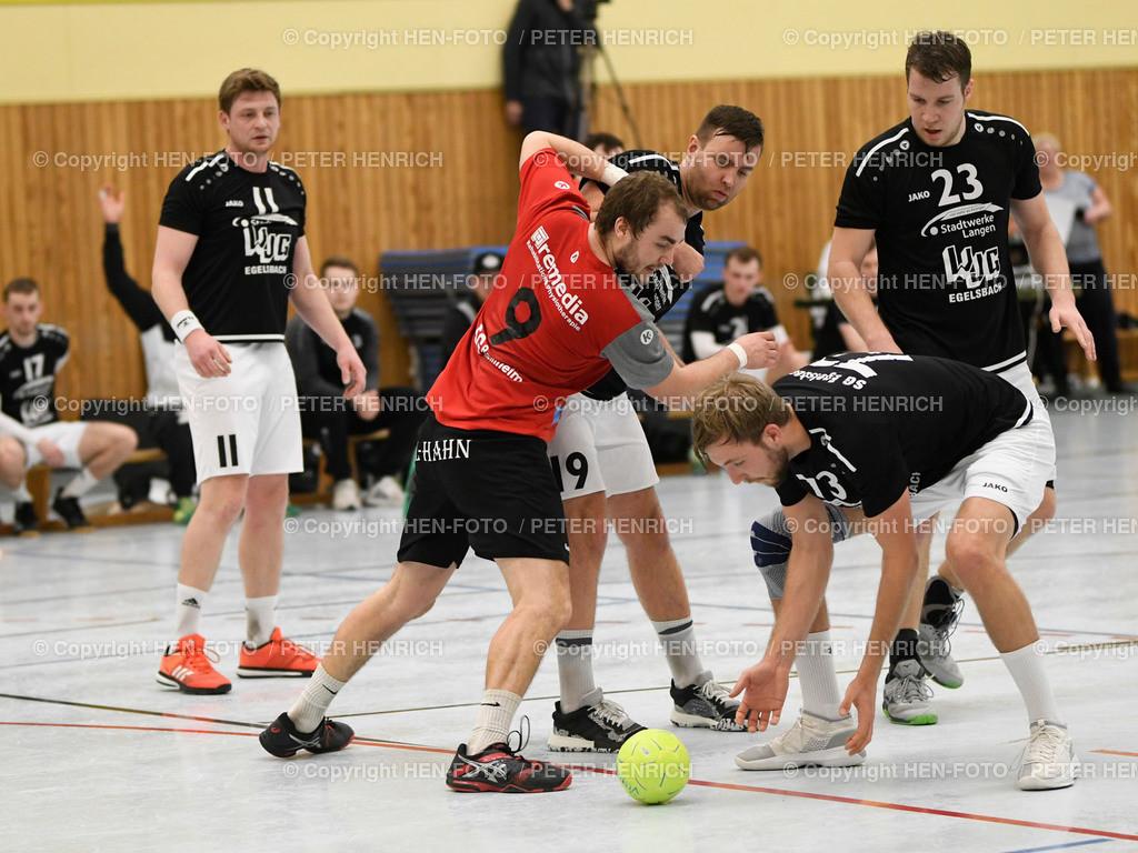 Handball Männer Landesliga MSG Rossdorf Reinheim - SG Egelsbach copyright HEN-FOTO | 16.2.2020 Handball Männer Landesliga MSG Rossdorf Reinheim - SG Egelsbach (25:26) Mi 9 Max Demerath (Ro) re 73 Leon Winn (E) copyright + Foto: Peter Henrich (HEN-FOTO)