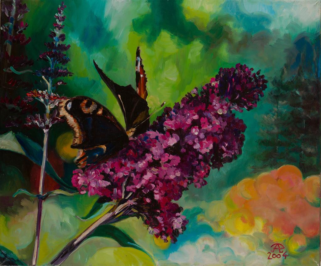 Schmetterlinge am Sommerflieder | Originalformat: 50x60cm  -  Produktionsjahr: 2006